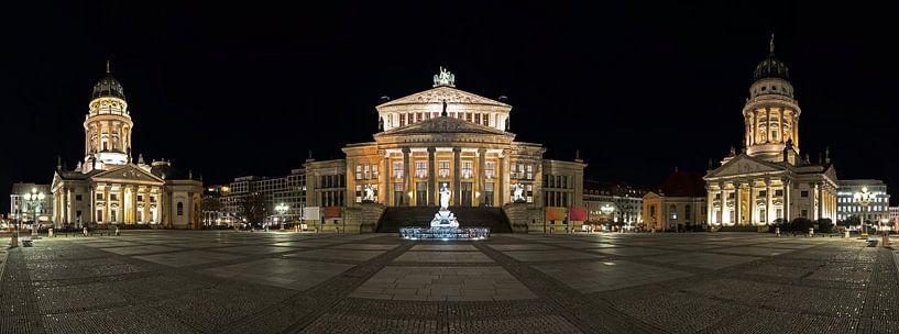 Gendarmenmarkt Berlijn Panorama bij nacht van Frank Herrmann