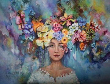 hoofd in bloemen van Janny Schilderink