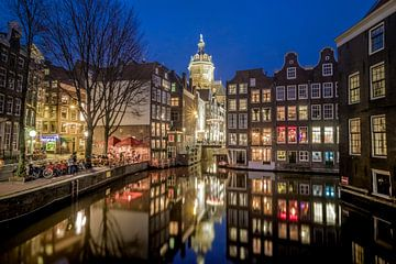 Uitzicht vanaf de Armbrug in Amsterdam van Niels Barto