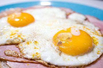 Closeup van  een sandwich met gebakken ei. Uitsmijter. van N. Rotteveel