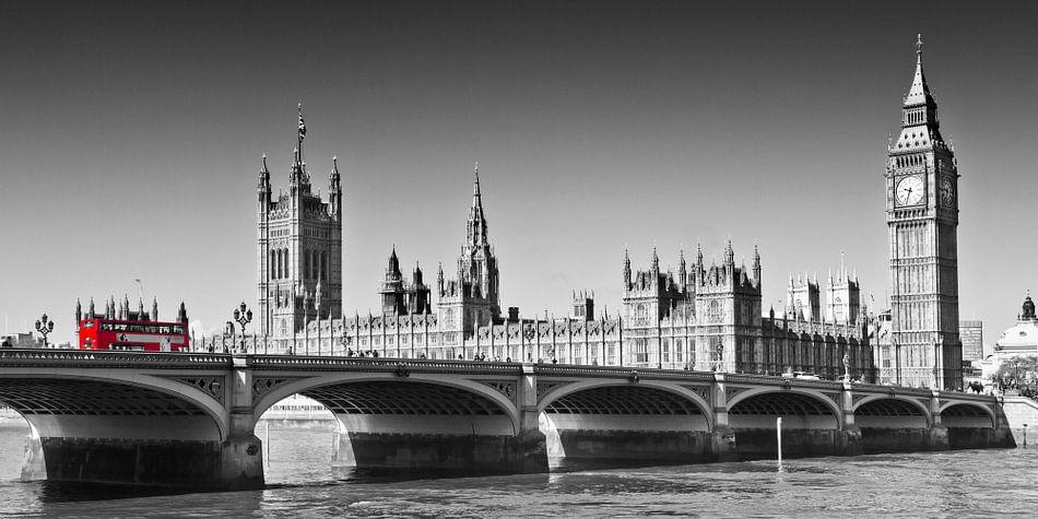 LONDON Westminster Bridge | Panoramic view van Melanie Viola
