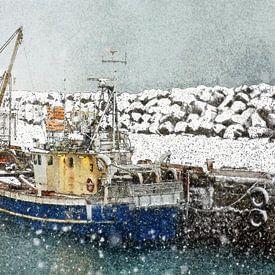Sneeuw in Keflavik, IJsland van Frans Blok