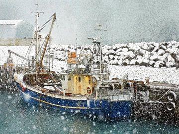 Schnee in Keflavik, Island von