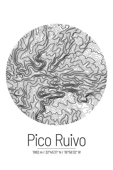 Pico Ruivo | Kaart Topografie (Minimaal)