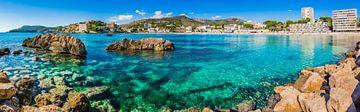 Panorama uitzicht op de prachtige kustlijn in Peguera, strand van Platja Palmira, Mallorca Spanje van Alex Winter