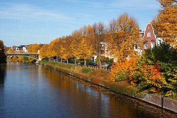Alte Wohnhäuser am Alsterlauf am Leinpfad im Herbst,  Winterhude, Hamburg, Deutschland, Europa   I