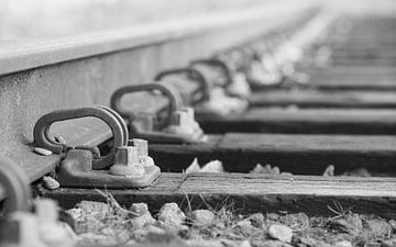 Close up van spoorweg. van Michel Knikker