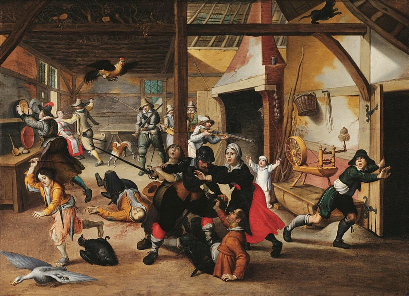 Soldaten plündern einen Bauernhof, Sebastiaen Vrancx von Meesterlijcke Meesters