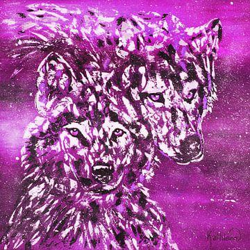 Fuchsia winterwolf van Kathleen Artist Fine Art