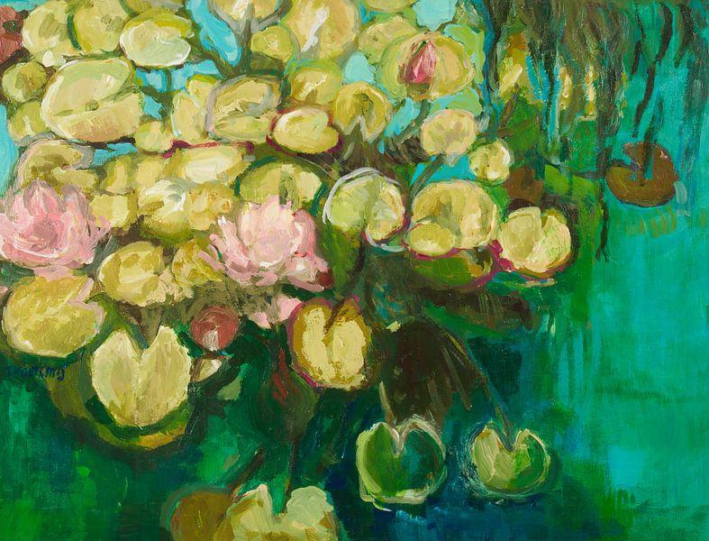 Groene waterlelies van Tanja Koelemij
