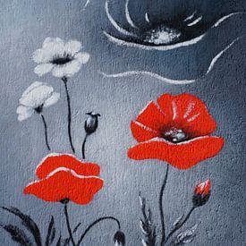 Rode papaver - papaverbloem abstract van Marita Zacharias