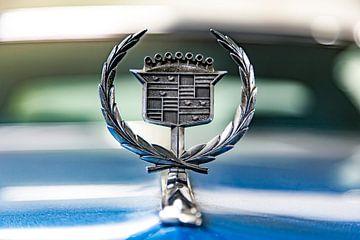 Detail van een blauwe oldtimer Cadillac