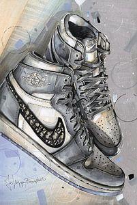 Jordan 1 Retro High Dior Malerei von Jos Hoppenbrouwers