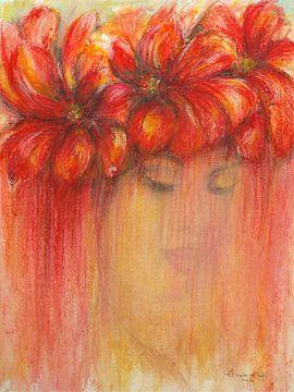 Karibisches Blumenmädchen. von Ineke de Rijk