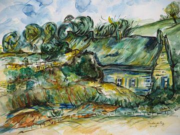 Bauernhäuser inspiriert von van Gogh. von Ineke de Rijk
