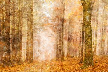 Herbstwald in Aquarellfarbe von Elles Rijsdijk
