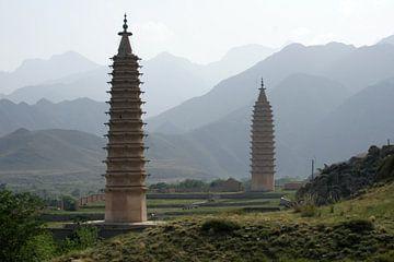 Baisikou Twin Pagoda's van de Westerlijke Xia Dynasty van Ben Nijhoff
