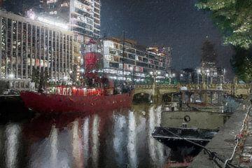 Rotes Boot Rotterdam Vessel 11 von Digitale Schilderijen