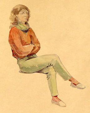 Vrouwelijk model in de academie te Dendermonde van Galerie Ringoot
