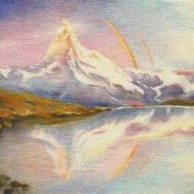 Matterhorn met regenboog van Marita Zacharias