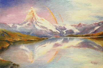 Matterhorn met regenboog van