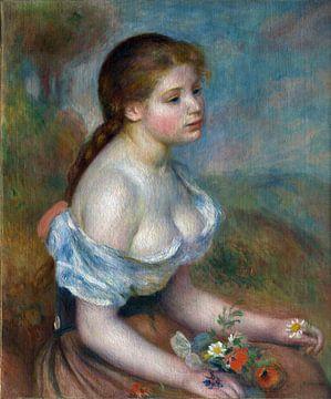 Auguste Renoir, Ein junges Mädchen mit Gänseblümchen - 1889 von Atelier Liesjes
