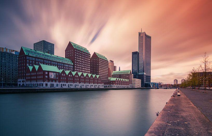 Zonsondergang Spoorweghaven Rotterdam van Ilya Korzelius