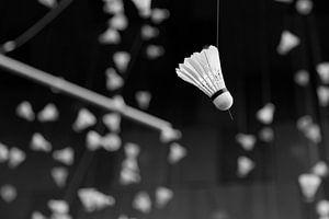 Badminton shuttle in zwart wit van