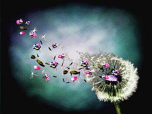 Farben des Windes, Löwenzahn mit bunten Blumen von MirEll digital art