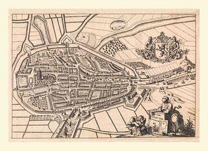 Karte von Zierikzee, anno ca 1696, mit weißem Rahmen.