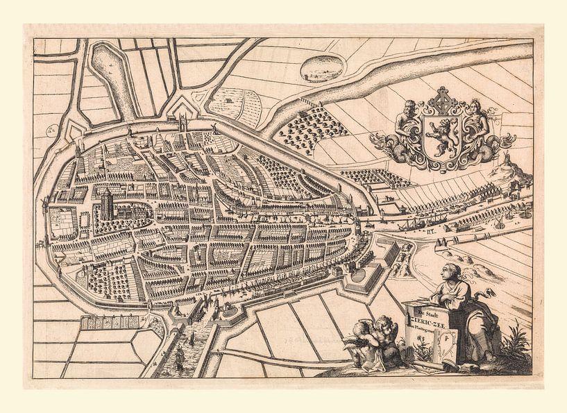 Karte von Zierikzee, anno ca 1696, mit weißem Rahmen. von Gert Hilbink