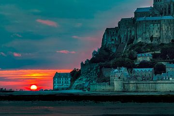 Mont Saint Michel zonsondergang van