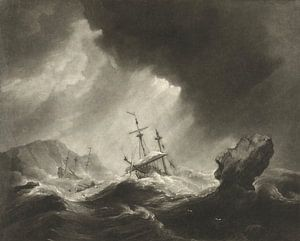 Storm op zee met schipbreuk van