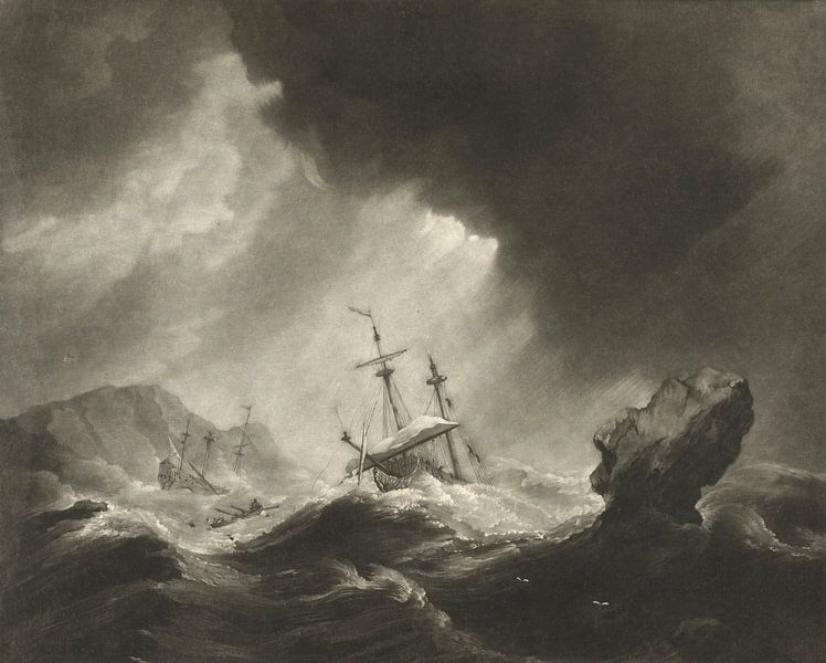 Storm op zee met schipbreuk van Meesterlijcke Meesters