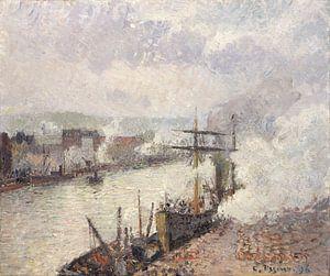 Stoomboten in de haven van Rouen, Camille Pissarro