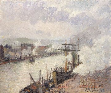 Les bateaux à vapeur dans le port de Rouen, Camille Pissarro sur