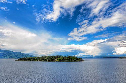 Eiland Utoya nabij Oslo, Noorwegen. van