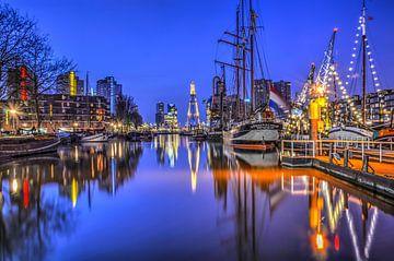 Rotterdam in donkerblauw van Frans Blok