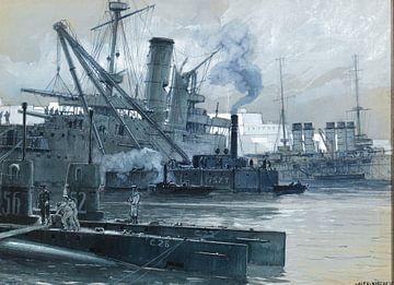 Alexander Kircher, In der Nähe der Dardanellen, britische und französische Kriegsschiffe im Hafen vo