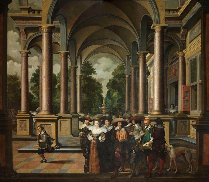 Zevendelige kamerbeschildering: Een Galerij, Dirck van Delen van Meesterlijcke Meesters