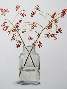 Aquarell einer Glasvase mit roten Orangenbeeren am Zweig von Bianca ter Riet