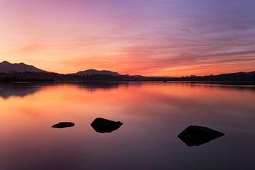 Sonnenuntergang am Hopfensee im Allgäu von Markus Lange