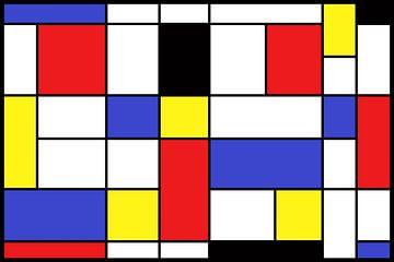 compositie naar de stijl van Piet Mondriaan van W J Kok