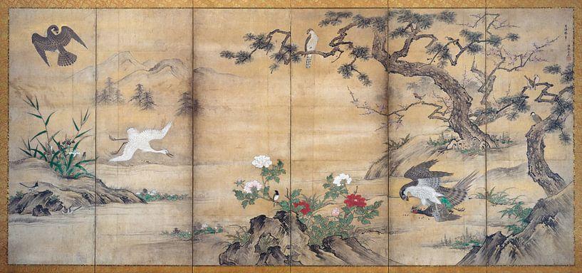 Kanu Mitsunobu.Vögel, Bäume und Blumen von 1000 Schilderijen