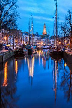 Winter Welvaart Groningen vanaf de Vissersbrug van