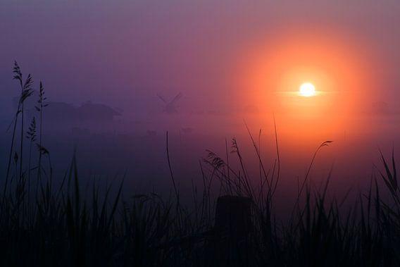 Molen in de mist tijdens zonsopkomst van Mark Scheper