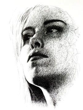 Scribble-Porträt in Schwarz von Ron van Vliet
