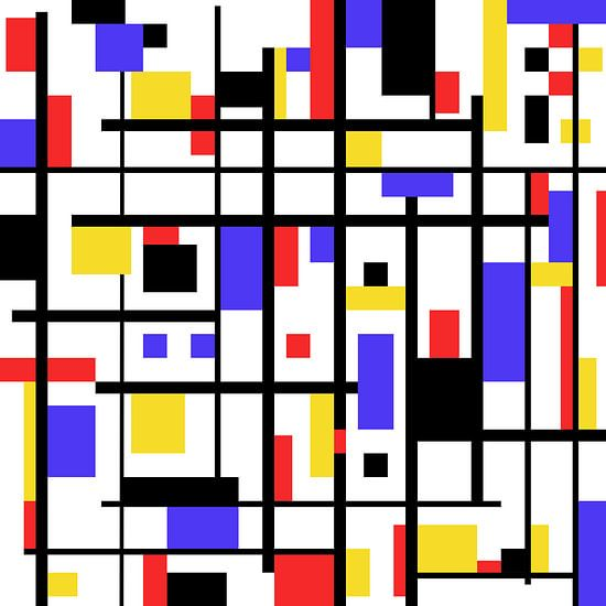 Mondriaan stijl gemaakt kunstwerk