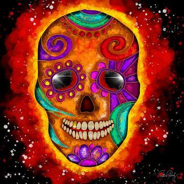 Kleurrijke schedel met vuurbal van Patricia Piotrak