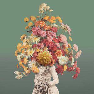 Zelfportret met bloemen 1 (groengrijze achtergrond) van
